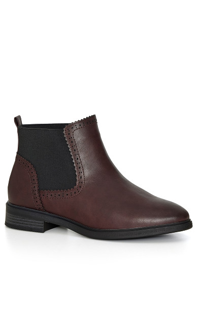 EXTRA WIDE FIT Simple Ankle Boot - burgundy