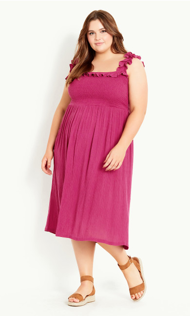 Shirred Ruffle Dress - purple