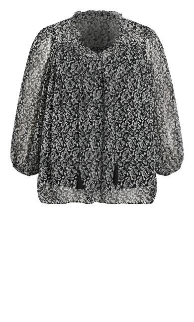 Paisley Floral Top - black