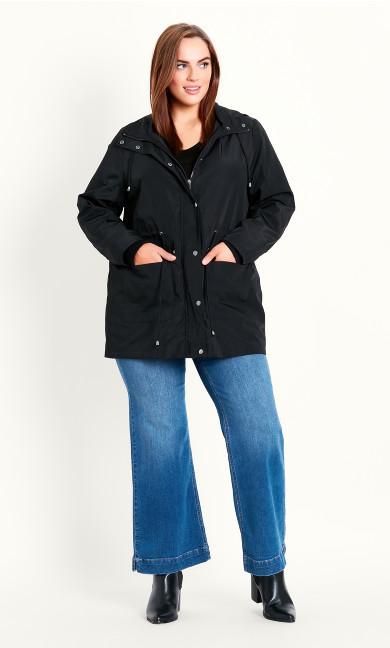 Lightweight Hooded Coat - black
