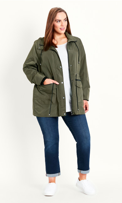 Lightweight Hooded Coat - khaki