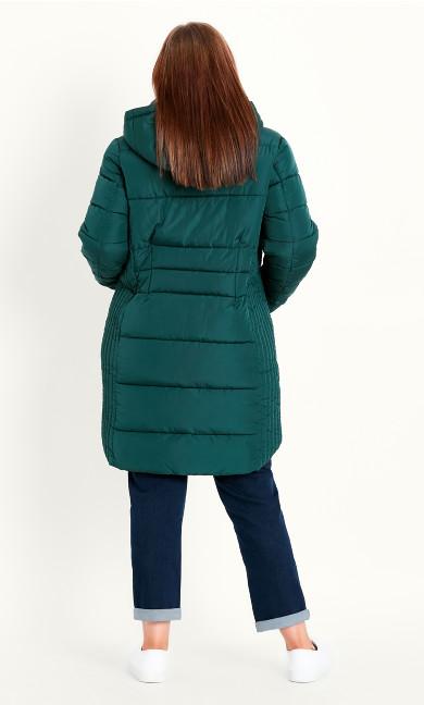 Contrast Zip Coat - green