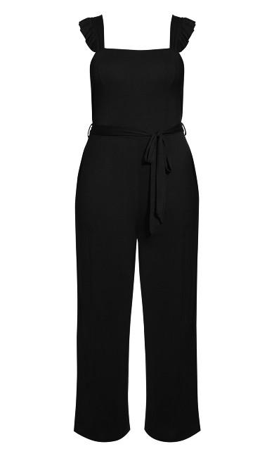 Ruffle Plain Jumpsuit - black