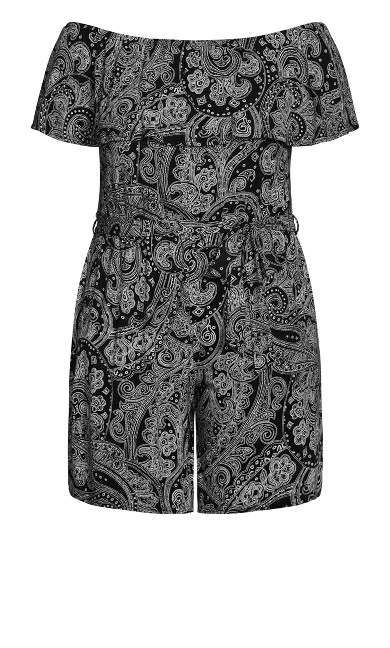 Paisley Print Playsuit - black