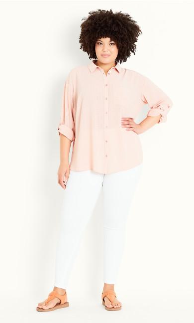 Oversized Check Shirt - blush