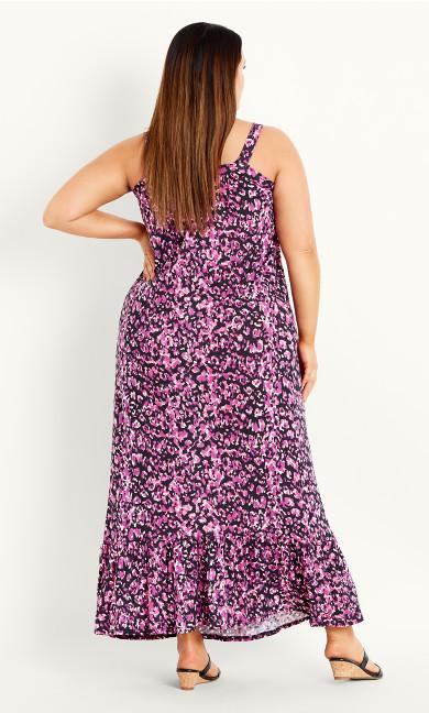 Strappy Smudge Print Dress - pink