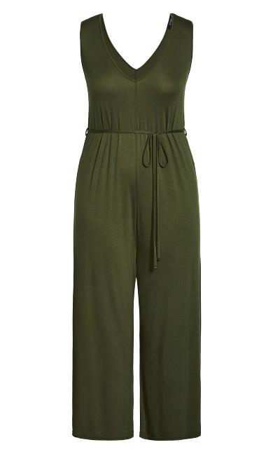 V Neck Plain Jumpsuit - khaki
