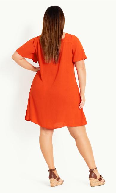 Button Through Dress - orange