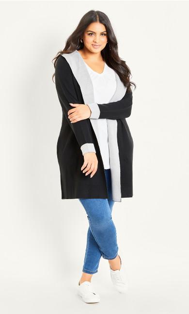 Hooded Long Sleeve Coatigan - black