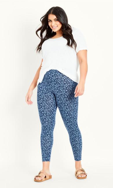 Animal Print Legging - blue
