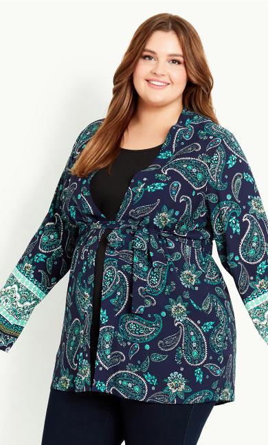Paisley Print Kimono - navy