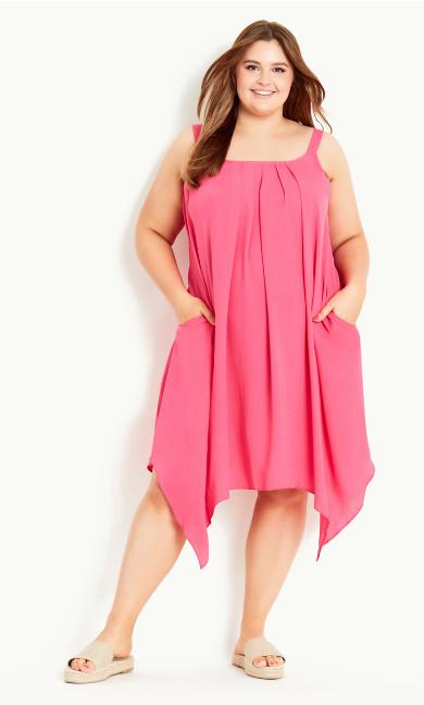 Strappy Hanky Hem Dress - pink