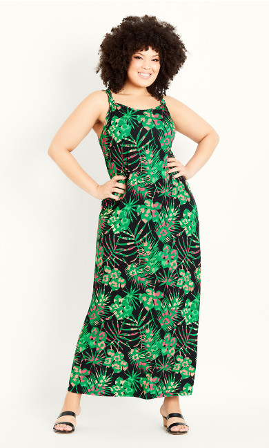 Tropical Maxi Dress - black