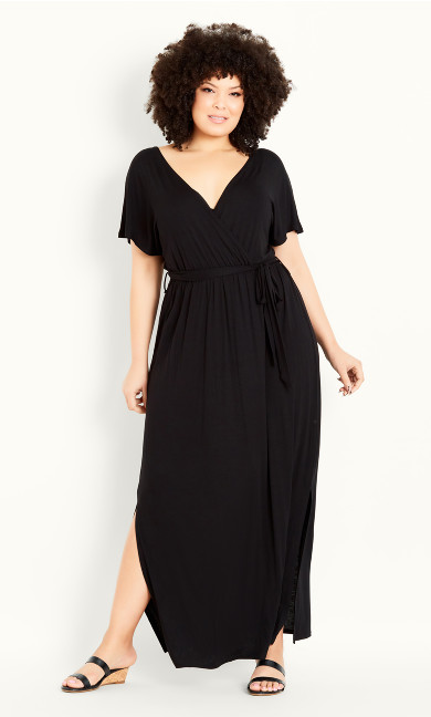 Wrap Plain Dress - black