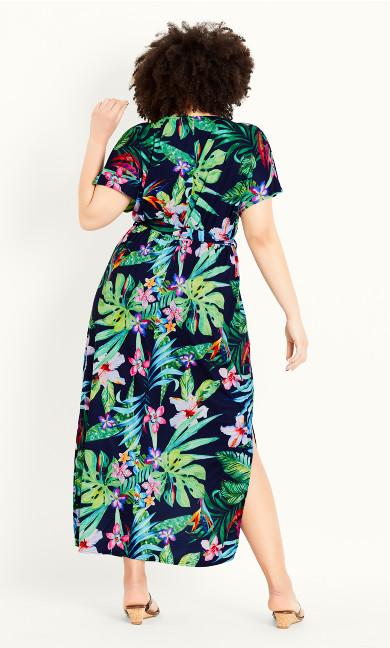 Wrap Tropical Dress - green emerald