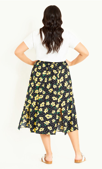 Print Pull On Skirt - black floral