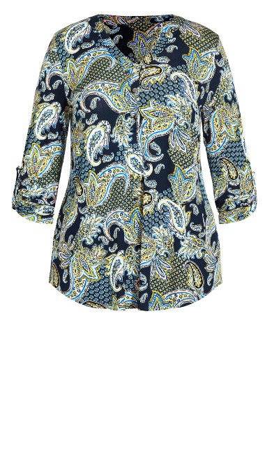 Jersey Print Shirt - blue paisley
