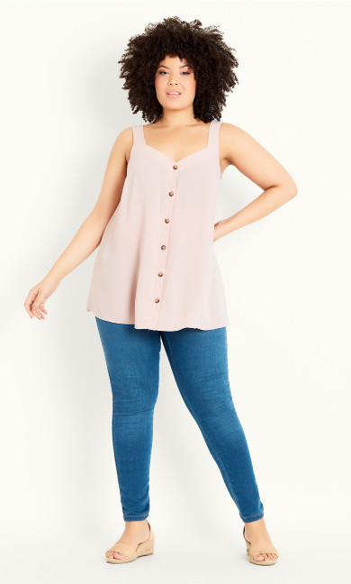 Button Through Vest - blush