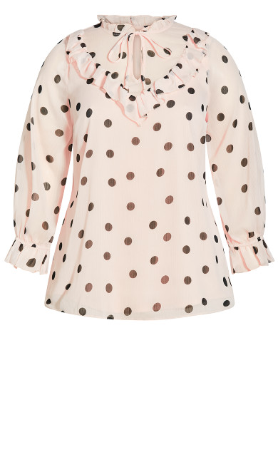 Frill Neck Long Sleeve Top - blush