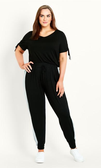 Side Stripe Full Length Jogger - black