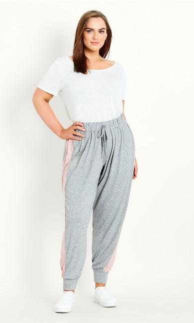Side Stripe Full Length Jogger - grey