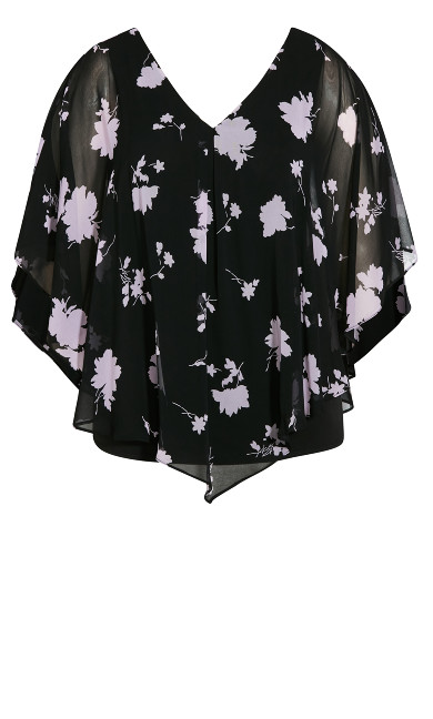 Floral Overlay Top - lilac