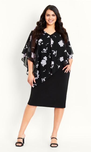 Print Overlay Dress - black