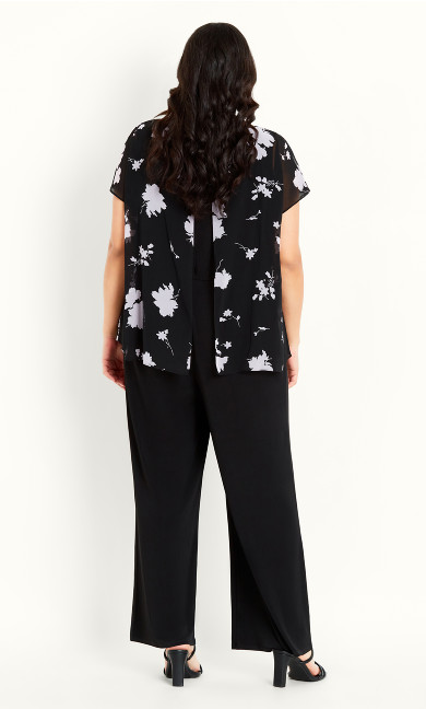 Print Overlay Jumpsuit - black