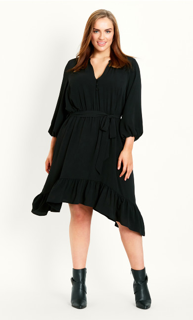 Hanky Hem Sleeved Dress - black