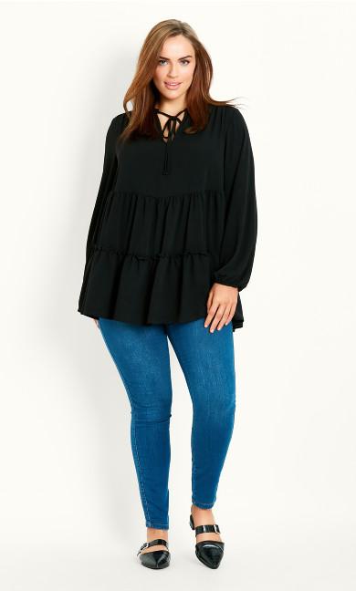 Plain Tiered Woven Tunic - black