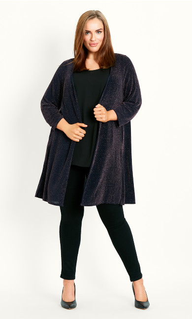 Sparkle Open Front Cardigan - navy