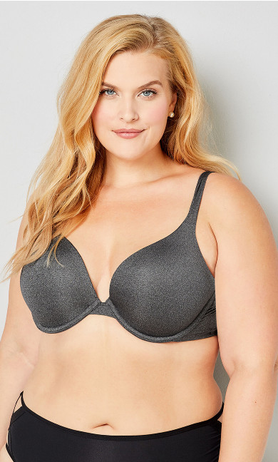 Grey Heather Plunge Bra