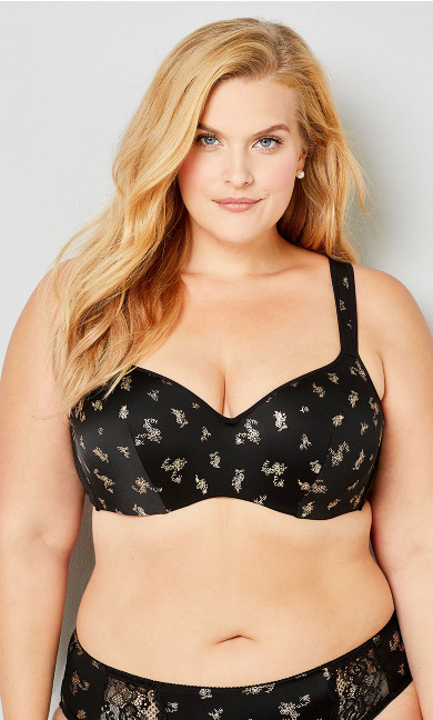 Plus Size Balconette Underwire Bra - black