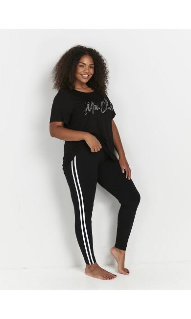 Black Monochrome Side Striped Leggings