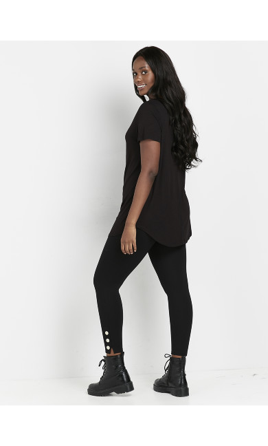 Black Ponte Popper Leggings