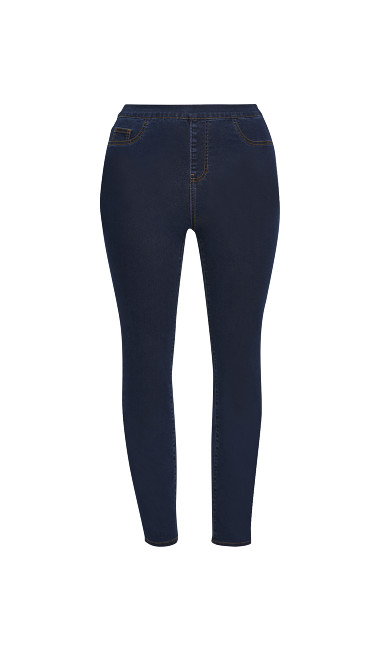 Flat Front Jeggings - mid wash