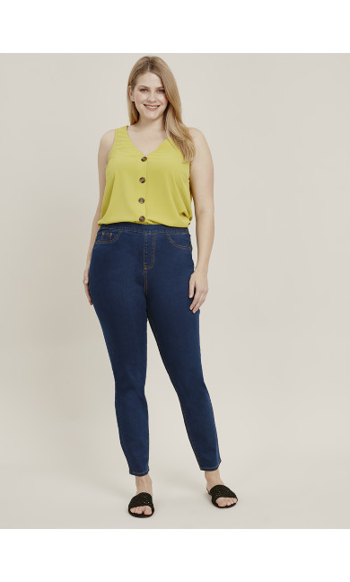 Blue Mid Wash Flat Front Jeggings