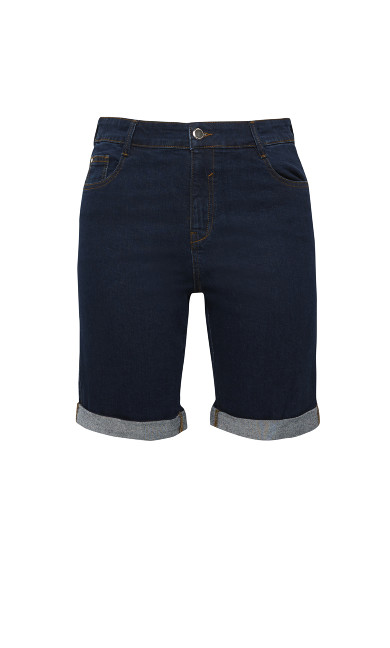 Cuffed Denim Short - indigo