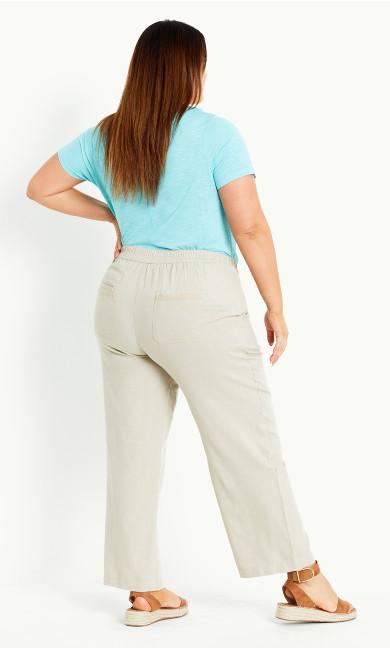 Relaxed Linen Blend Trouser Stone - short