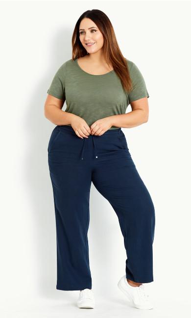 Relaxed Linen Blend Trouser Navy - long