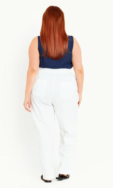 Relaxed Linen Blend Trouser White - long