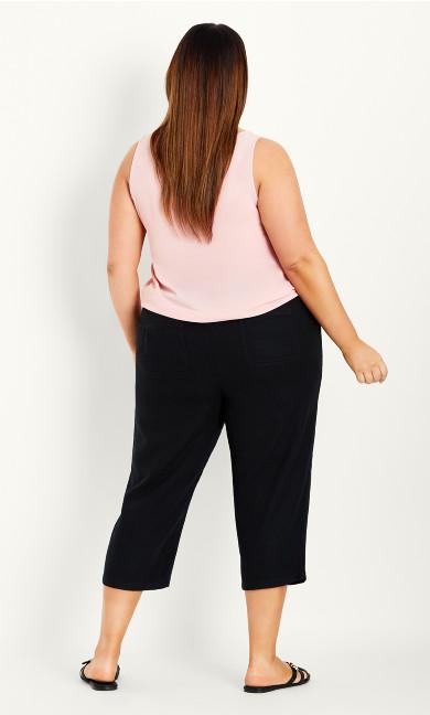 Linen Blend Crop Trouser - black