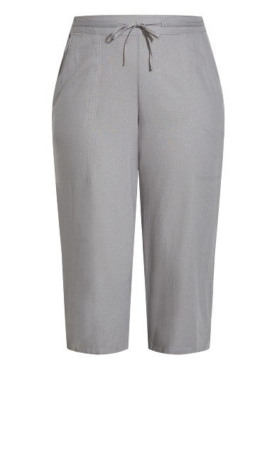 Linen Blend Crop Trouser - grey