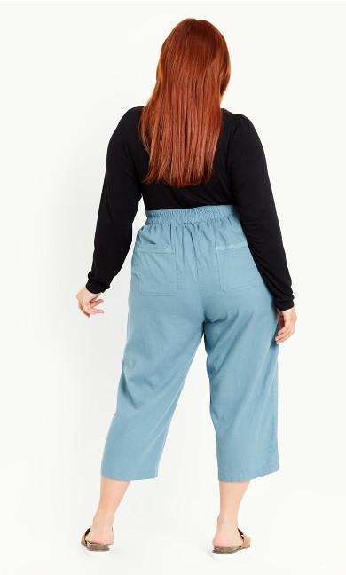 Linen Blend Crop Trouser - sage