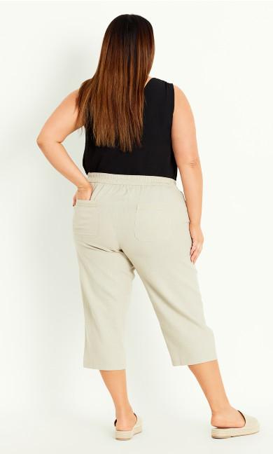 Linen Blend Crop Trouser - neutral