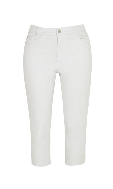 Cropped Denim Jean - white