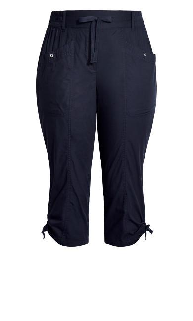 Poplin Cropped Trouser - navy