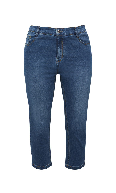 Crop Denim Jean - mid wash