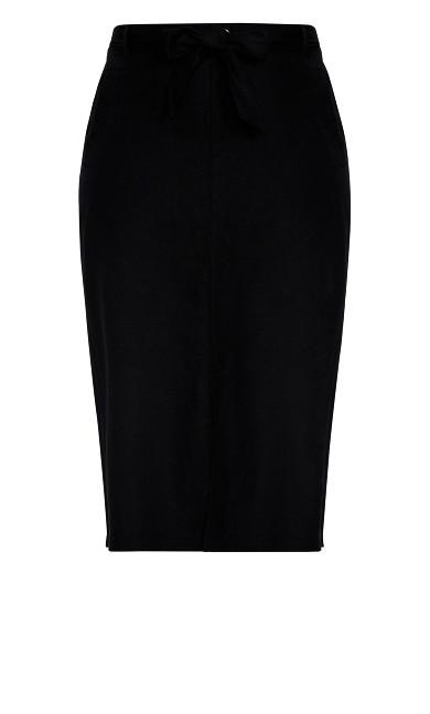 Pocket Linen Blend Midi Skirt - black