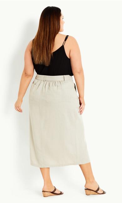 Pocket Linen Blend Midi Skirt - neutral